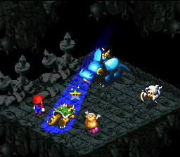 A screenshot of Princess Toadstool performing the Come Back move.