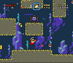 Mario shooting Fireballs at a Rip Van Fish in Forest of Illusion 2.