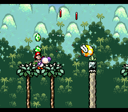 Purple Yoshi spitting Watermelon seeds at a Wild Ptooie Piranha and a couple of Red Coins in the level Jammin' Through The Trees