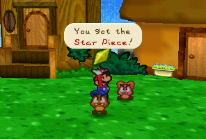 Mario getting a Star Piece from Goombaria in Paper Mario