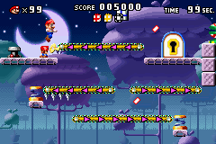 A portion of Level 5-2+ from the game Mario vs. Donkey Kong.