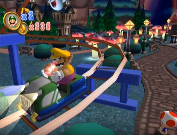 Wario, on a roller coaster, in Dance Dance Revolution: Mario Mix.