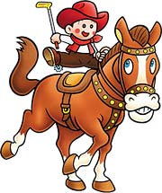 Artwork of Bean riding a horse for the Mobile Golf game on Game Boy Color