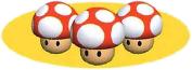 Mario Kart: Super Circuit promotional artwork: Triple Mushroom.