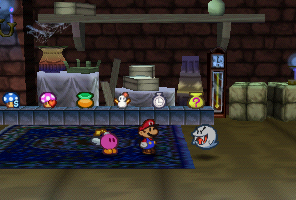 Mario and Bombette in Boo's Shop in Boo's Mansion