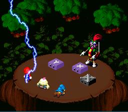 A screenshot of the Bolt attack hitting Mario.