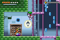 Wario in the level Crescent Moon Village.