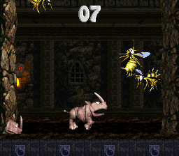 Rambi in the first Bonus Area of Castle Crush in Donkey Kong Country 2: Diddy's Kong Quest