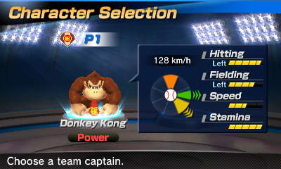 Donkey Kong's stats in the baseball portion of Mario Sports Superstars