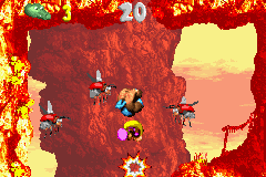 Dixie and Kiddy Kong in the second Bonus Area of Criss Kross Cliffs.