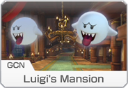 <small>GCN</small> Luigi's Mansion icon from Mario Kart 8 Deluxe.