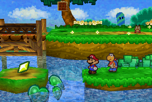 Mario ready to toss Kooper for a Star Piece on an island in Pleasant Path in Paper Mario
