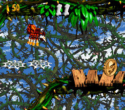 Squitter exploring the first Bonus Area of Toxic Tower in Donkey Kong Country 2: Diddy's Kong Quest