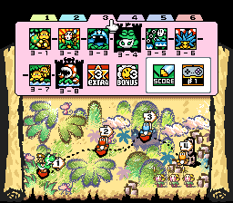 The map of World 3 from the game Super Mario World 2: Yoshi's Island.