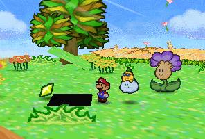 Mario finding a Star Piece under a hidden panel in the Petunia scene in Flower Fields in Paper Mario