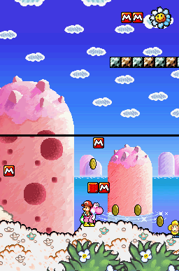 A Pink Yoshi carrying Baby Mario through the level Hit the M Blocks! in Yoshi's Island DS