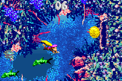 Dixie Kong swimming through the first Bonus Level of Bazza's Blockade in the Game Boy Advance remake