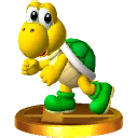 A trophy of a Green Koopa Troopa from Super Smash Bros. for 3DS.