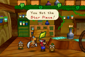 Mario getting a Star Piece from Goompa in Paper Mario