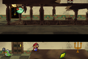 Mario finding a Star Piece on the big table in Tubba Blubba's Castle in Paper Mario