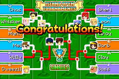 The Final Island Open Singles Bracket in Mario Tennis: Power Tour.