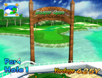 The first hole of Blooper Bay from Mario Golf: Toadstool Tour.