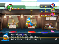 """The recalled version of Mario Party 8, showing the word """"spastic""""."""