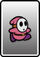 A Pink Shy Guy card from Paper Mario: Color Splash