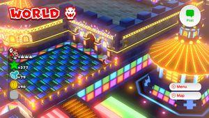 8-bit Luigi found on the World Bowser map in Super Mario 3D World.
