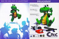 A printed advertisement for Croc: Legend of the Gobbos, featuring a reference to Mario's red cap.