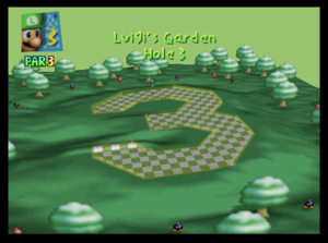 The third hole of Luigi's Garden from Mario Golf (Nintendo 64)