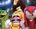 MASATOWG Vector, Wario, DK and Knuckles celebrating.png