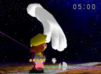 Master Hand entering the battlefield.