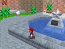 The courtyard of Peach's Castle in Super Mario 64 DS