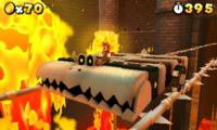 Mario rides a Bone Roller Coaster in World 8-Bowser: Part 2 of Super Mario 3D Land.