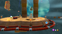 Full view of the Drill Zone Planet of the Spin-Dig Galaxy in Super Mario Galaxy 2