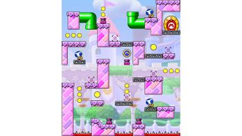 Miiverse screenshot of the 97th official level in the online community of Mario vs. Donkey Kong: Tipping Stars