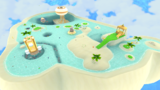 """A screenshot of Starshine Beach Galaxy during the """"Climbing the Cloudy Tower"""" mission from Super Mario Galaxy 2."""