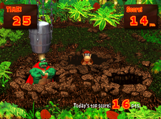 Gameplay of the Bash K.Rool mini-game of Donkey Konga.