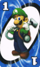 The Blue One card from the Nintendo UNO deck (featuring Luigi)