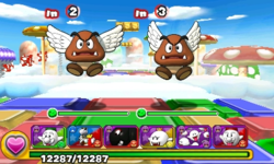 Screenshot of World 1-6, from Puzzle & Dragons: Super Mario Bros. Edition.