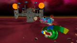 "A screenshot of Bowser's Star Reactor during ""The Fiery Stronghold"" mission from Super Mario Galaxy."