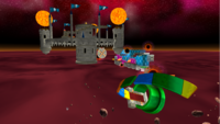 """A screenshot of Bowser's Star Reactor during """"The Fiery Stronghold"""" mission from Super Mario Galaxy."""
