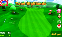 Hole 16 of Toad Highlands in Mario Golf: World Tour.