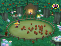 Herding the Goombas from aggressive computer players in Word Herd from Mario Party 6.