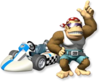 Artwork of Funky Kong and his kart from Mario Kart Wii