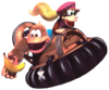 Dixie and Kiddy ride in a Hover Craft in Donkey Kong Country 3.