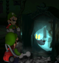 Luigi finding a Speedy Spirit in the game Luigi's Mansion.