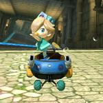 Baby Rosalina performing a trick. Mario Kart 8.