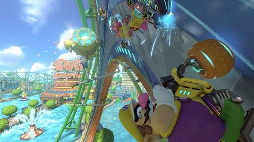 Wario driving in the Water Park course in Mario Kart 8